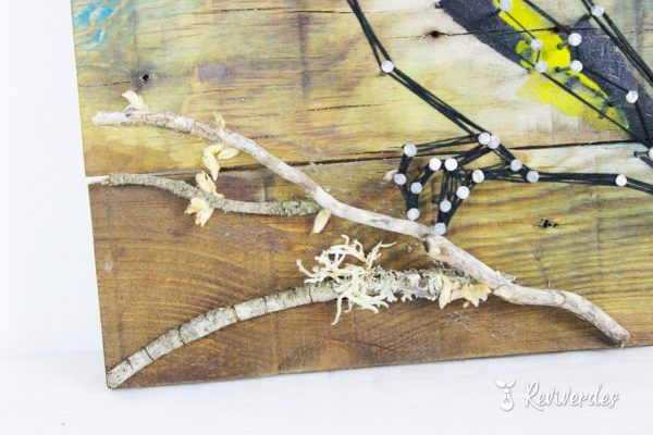 Branch detail attached to the painting