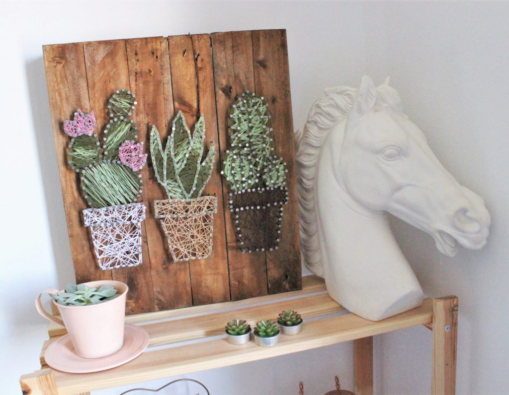 wooden cactus painting