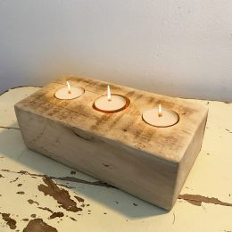 triple wooden candle holder