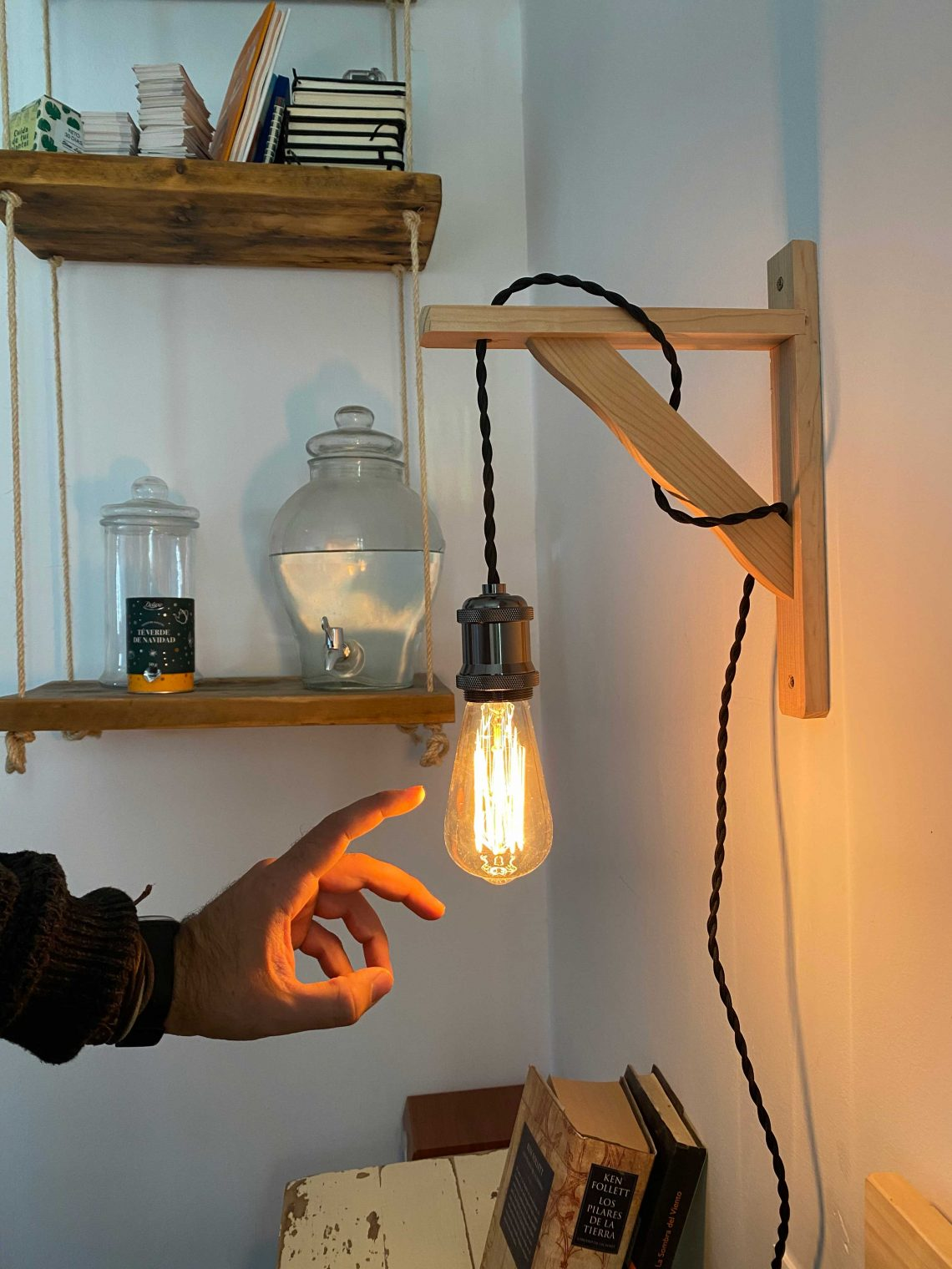 hanging ember lamp with wooden square