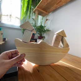 Wooden game moon in balance